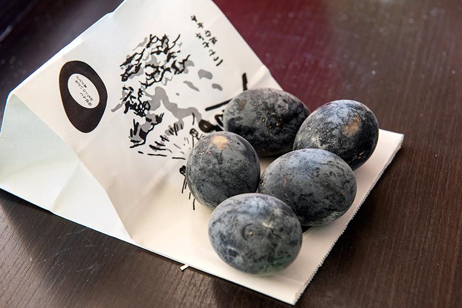 Owakudani juodi kiaušiniai